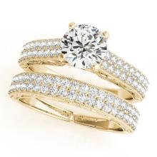 1.76 CTW Certified VS/SI Diamond Pave 2pc Set Solitaire Wedding  14K Gold - REF#-249M5F
