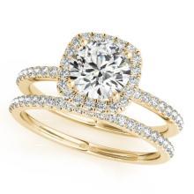 1.70 CTW Certified VS/SI Diamond 2pc Wedding Set Solitaire Halo 14K Gold - REF#-488X2T
