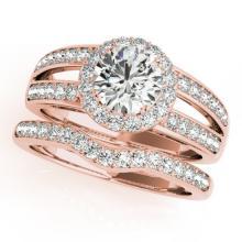 1.91 CTW Certified VS/SI Diamond 2pc Wedding Set Solitaire Halo 14K Gold - REF#-421A6X