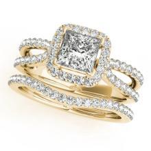 1.71 CTW Certified VS/SI Princess Diamond 2pc Set Solitaire Halo 14K Gold - REF#-446M5F