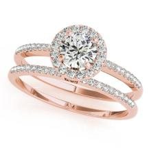 1.11 CTW Certified VS/SI Diamond 2pc Wedding Set Solitaire Halo 14K Gold - REF#-191F5V