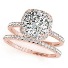 0.93 CTW Certified VS/SI Cushion Diamond 2pc Set Solitaire Halo 14K Gold - REF#-157A6X