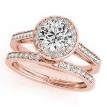 1.45 CTW Certified VS/SI Diamond 2pc Wedding Set Solitaire Halo 14K Gold - REF#-390N4A
