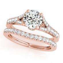 1.06 CTW Certified VS/SI Diamond Solitaire 2pc Wedding Set  14K Gold - REF#-96Y5M