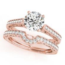 0.82 CTW Certified VS/SI Diamond Solitaire 2pc Wedding Set Antique Gold - REF#-128M5R