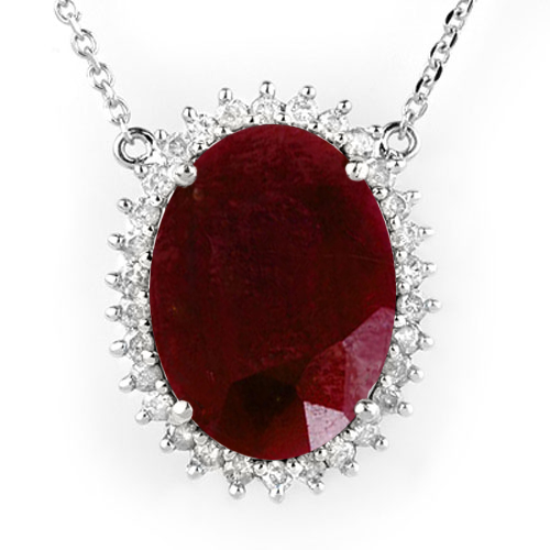 19.25 ctw Ruby & Diamond Necklace 18K White Gold - REF#-232R2H