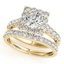 2.29 CTW Certified VS/SI Diamond 2pc Wedding Set Solitaire Halo 14K Gold - REF#-434X7T