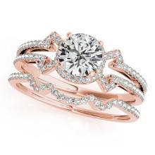 1.01 CTW Certified VS/SI Diamond Solitaire 2pc Wedding Set  14K Gold - REF#-140K2W