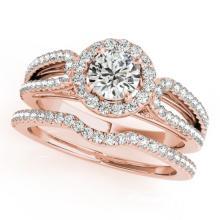 1.11 CTW Certified VS/SI Diamond 2pc Wedding Set Solitaire Halo 14K Gold - REF#-144V2Y