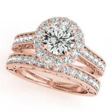 2.11 CTW Certified VS/SI Diamond 2pc Wedding Set Solitaire Halo 14K Gold - REF#-424K7W