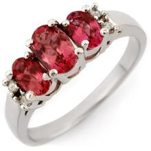 0.92 CTW Pink Tourmaline & Diamond Ring 18K White Gold - REF-46A2N - 10925