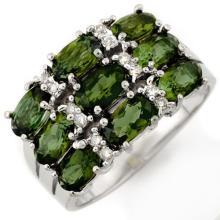 3.15 CTW Green Tourmaline & Diamond Ring 10K White Gold - REF-47K6R - 11727