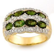 3.0 CTW Green Tourmaline & Diamond Ring 14K Yellow Gold - REF-105Y5X - 11685