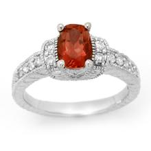 1.58 CTW Pink Tourmaline & Diamond Ring 14K White Gold - REF-70R2K - 13655
