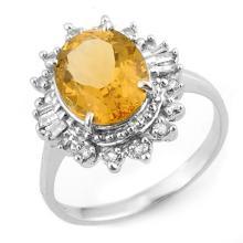 3.45 CTW Citrine & Diamond Ring 18K White Gold - REF-60K2R - 11095