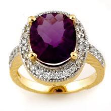 5.50 CTW Amethyst & Diamond Ring 14K Yellow Gold - REF-76F2M - 11165