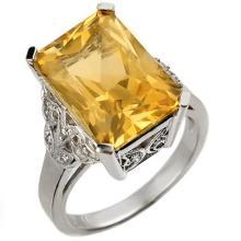 9.20 CTW Citrine & Diamond Ring 14K White Gold - REF-52K2R - 10941