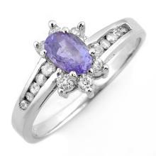 1.08 CTW Tanzanite & Diamond Ring 18K White Gold - REF-47R3K - 11427