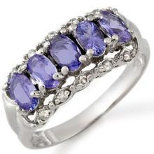 1.80 CTW Tanzanite & Diamond Ring 18K White Gold - REF-52F7M - 10679