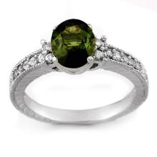 2.17 CTW Green Tourmaline & Diamond Ring 14K White Gold - REF-58R5K - 11442