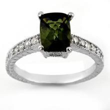 2.15 CTW Green Tourmaline & Diamond Ring 18K White Gold - REF-61Y8X - 11433