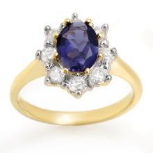 1.75 CTW Kaynite & Diamond Ring 14K Yellow Gold - REF-95A8N - 10606
