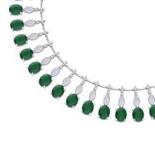 65.62 CTW Royalty Emerald & VS Diamond Necklace 18K White Gold - REF-1254H5A - 39120