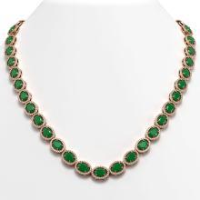 52.15 CTW Emerald & Diamond Halo Necklace 10K Rose Gold - REF-655A3X - 40554