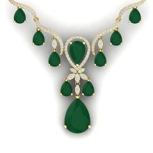 36.14 CTW Royalty Emerald & VS Diamond Necklace 18K Yellow Gold - REF-763K6W - 38591