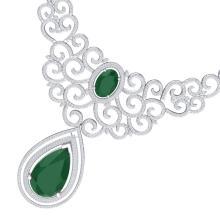 87.52 CTW Royalty Emerald & VS Diamond Necklace 18K White Gold - REF-2000Y2K - 39836