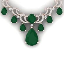 36.85 CTW Royalty Emerald & VS Diamond Necklace 18K Rose Gold - REF-1000T2M - 38656