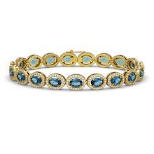 14.82 CTW London Topaz & Diamond Halo Bracelet 10K Yellow Gold - REF-232K5W - 40489