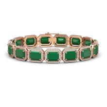 38.61 CTW Emerald & Diamond Halo Bracelet 10K Rose Gold - REF-456N5Y - 41523