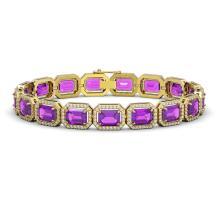 22.81 CTW Amethyst & Diamond Halo Bracelet 10K Yellow Gold - REF-302X9T - 41419