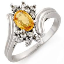 1.0 CTW Yellow Sapphire & Diamond Ring 10K White Gold - REF-27N3Y - 10231