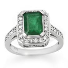 2.0 CTW Emerald & Diamond Ring 14K White Gold - REF-62A9X - 10712