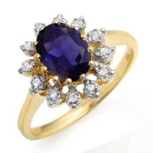 1.22 ctw Iolite & Diamond Ring 10K Yellow Gold - 11604-#28N2F