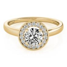 1.15 CTW Certified Diamond Bridal Solitaire Halo Ring 18K Yellow Gold - 26319-REF#273W8K