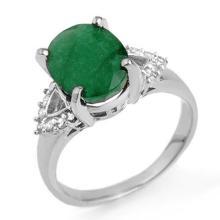 4.24 ctw Emerald & Diamond Ring 18K White Gold - 13034-#56W2K