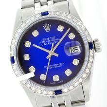 Rolex Men's Stainless Steel, QuickSet, Diam Dial & Diam/Sapphire Bezel - REF-521M4F