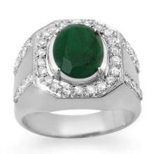 5.25 ctw Emerald & Diamond Men's Ring 10K White Gold - REF#-91T5K