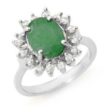 3.10 ctw Emerald & Diamond Ring 10K White Gold - REF#-70K2W
