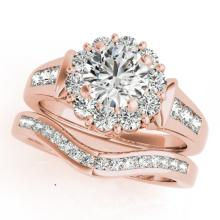 1.56 CTW Certified VS/SI Diamond 2pc Wedding Set Solitaire Halo 14K Gold - REF#-182X4T