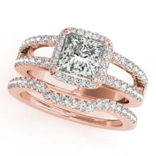 1.51 CTW Certified VS/SI Princess Diamond 2pc Set Solitaire Halo 14K Gold - REF#-252N5A