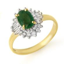 1.25 ctw Emerald & Diamond Ring 10K Yellow Gold - REF#-33K3W
