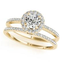 1.11 CTW Certified VS/SI Diamond 2pc Wedding Set Solitaire Halo 14K Gold - REF#-191G5N