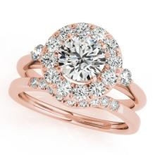 1.37 CTW Certified VS/SI Diamond 2pc Wedding Set Solitaire Halo 14K Gold - REF#-220R2H