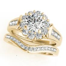 2.11 CTW Certified VS/SI Diamond 2pc Wedding Set Solitaire Halo 14K Gold - REF#-432X7T