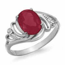 2.25 ctw Ruby & Diamond Ring 18K White Gold - REF#-34F9V-13871