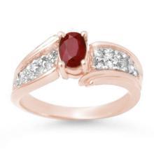1.43 ctw Ruby & Diamond Ring 14K Rose Gold - REF#-51M6R-13343